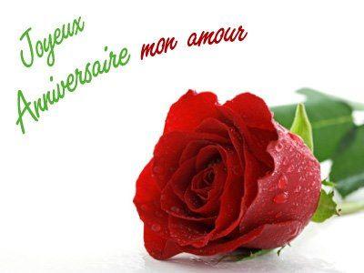 Rose rouge avec le message: Joyeux Anniversaire mon amour - ツ Images, Messages et Cartes de Joyeux Anniversaire ツ