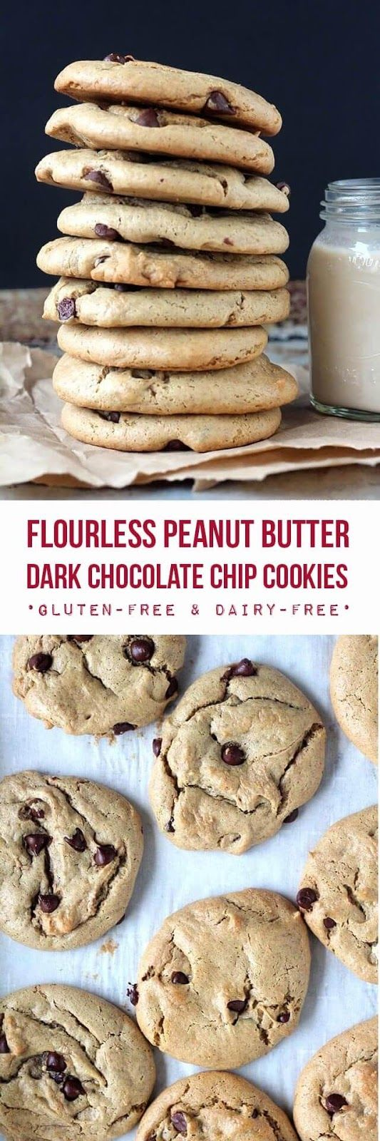 Easy flourless peanut butter cookies studded with dark chocolate chips and sweetened with maple syrup. These cookies are incredibly soft, full of rich peanut butter flavor, and they develop a wonderful chewiness the day after baking them. {gluten-free & dairy-free},