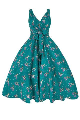 Turquoise Bambi 1950s Style Swing Dress | Clarence and Alabama