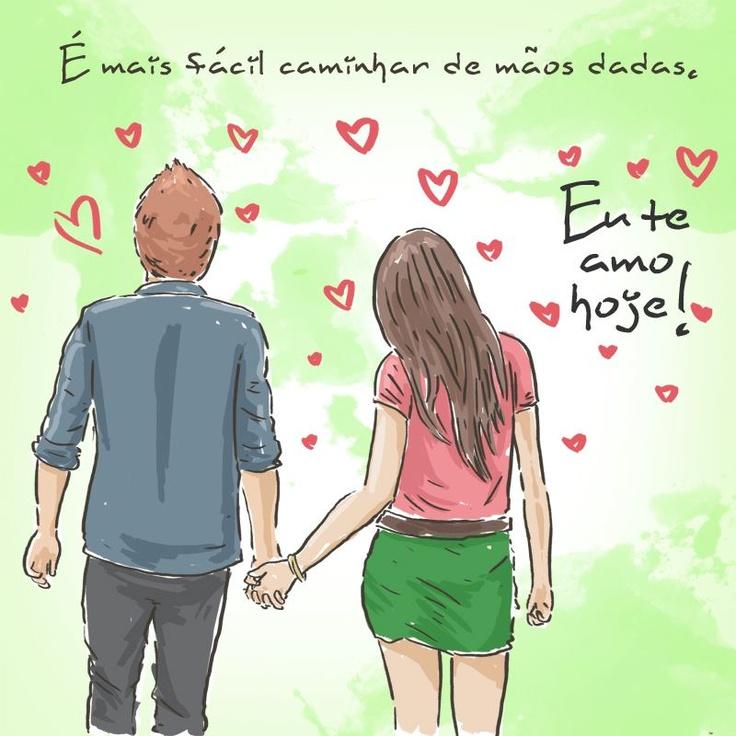 É mais fácil caminhar de mãos dadas! #euteamohoje #amor