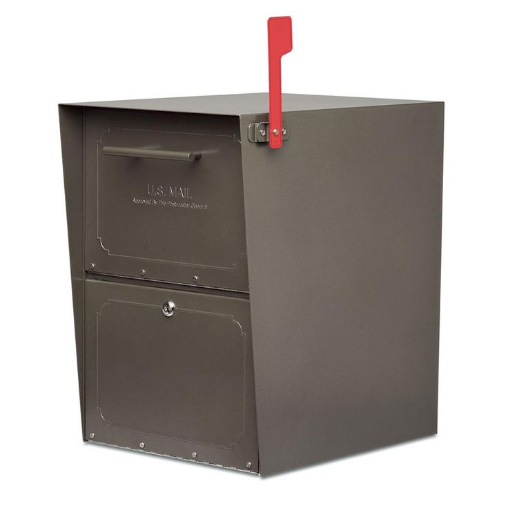 Architectural Mailboxes Oasis Post-Mount or Column-Mount Locking Mailbox in Bronze with Outgoing Mail Indicator