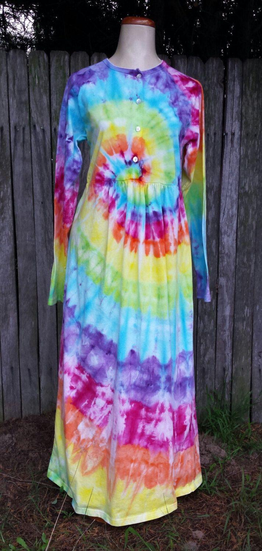 Tie dye hippie nightgown Organic Cotton - Size M by DyingDazeTieDye on Etsy