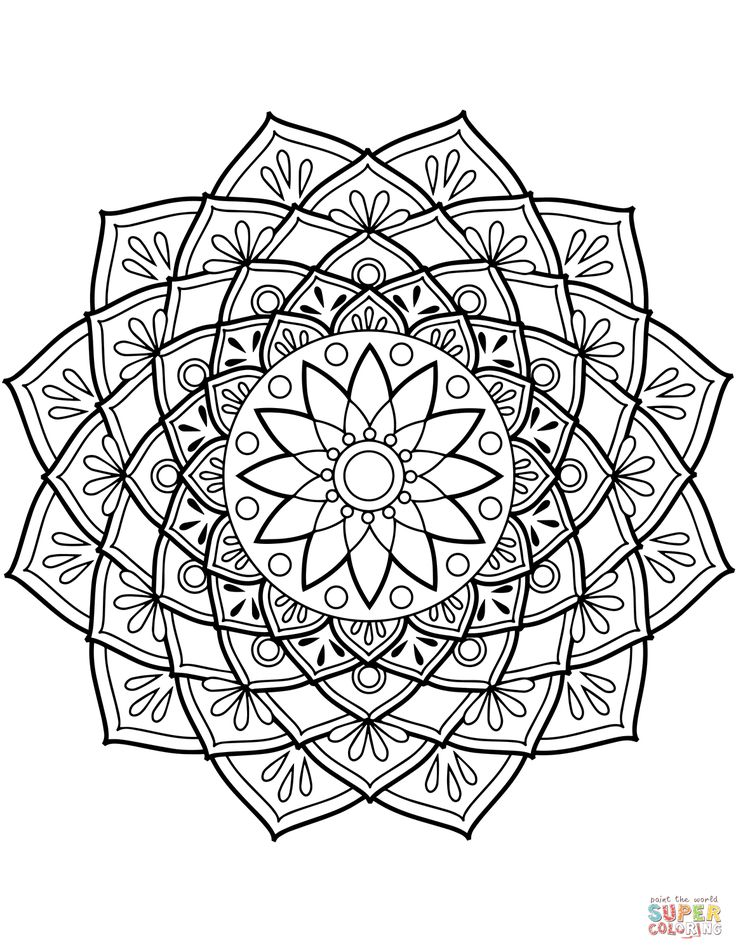 Blomster Mandala Tegninger Mandala Flower Mandala