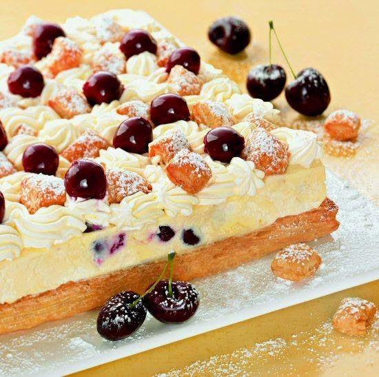 Besten Kuchen: Rezept! Kirsch-Pudding-Schnitten