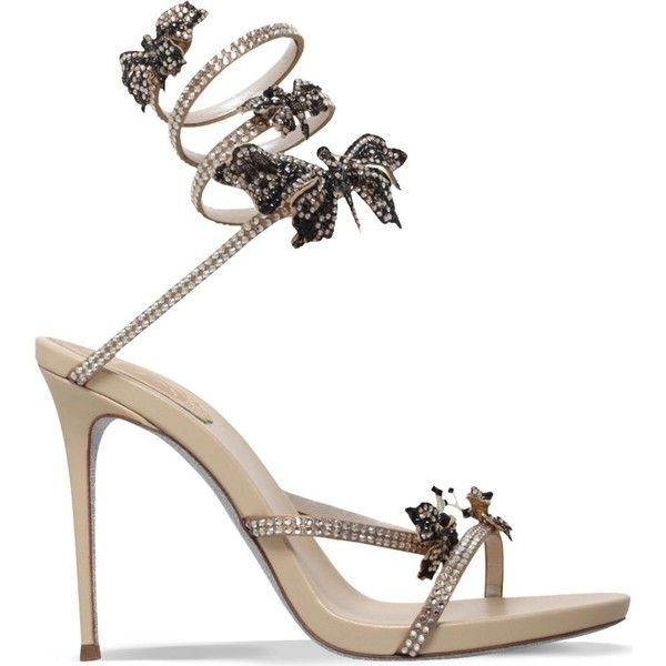 RENE CAOVILLA Butterfly wrap 105 leather heeled sandals featuring polyvore, women's fashion, shoes, sandals, heels, gold, wrap sandals, gold heel sandals, high heel sandals, gold ankle strap sandals and gold sandals
