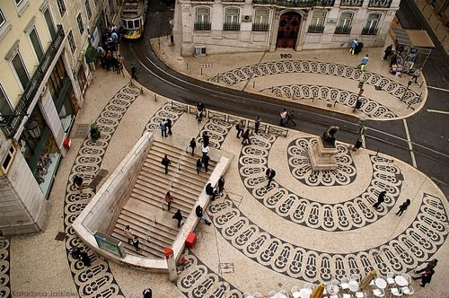 Chiado quartier @ Lisbon - PORTUGAL. Sidewalk made by Calçada portuguesa, (hand made stone work)