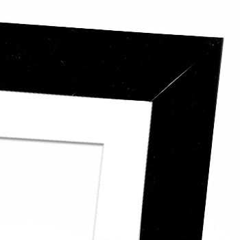 Wooden frames with white border.