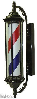 "YANAKI #YA2140 _ 28"" BARBER POLE- VINTAGE LOOK, ALL METAL FRAME, SPINS & LIGHTS"