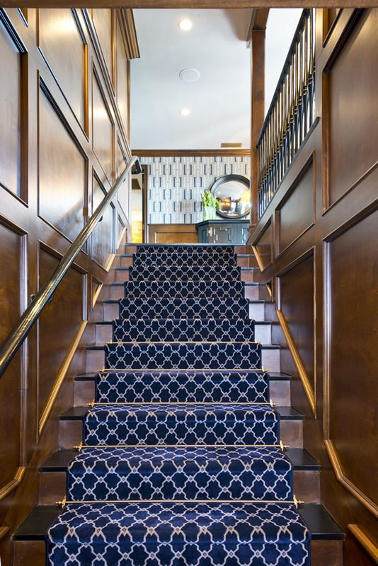 Graphic Carpet Helps Play Up The Graphic Walls At The Top Of The Stairs //