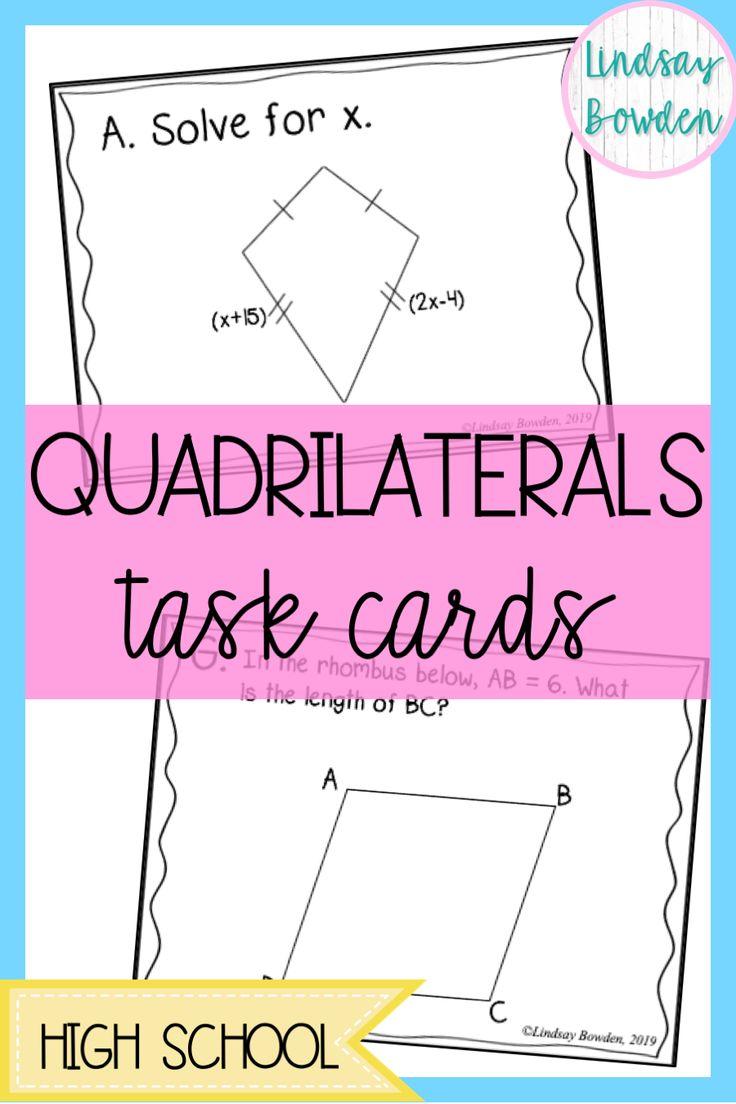 Quadrilaterals Task Cards Quadrilaterals activities