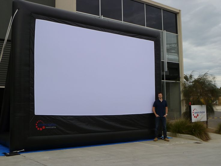 6 metre inflatable screen of ParkView series. A-frame for support, blowers constantly operating. Front and Rear projection capabilities.