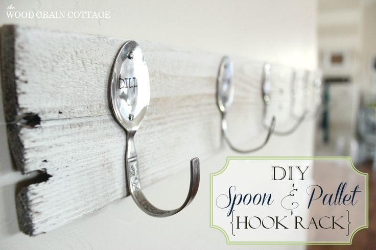 50+ Inexpensive Handmade Gift Ideas ~~Make a Pallet Wood Wall Rack {with stamped spoon hooks}