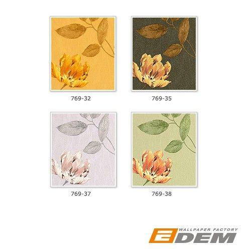 EDEM 769-35 высококачественные элитные обои с цветочным рисунком медно-коричневые желто-золотые с блестками – Bild 3