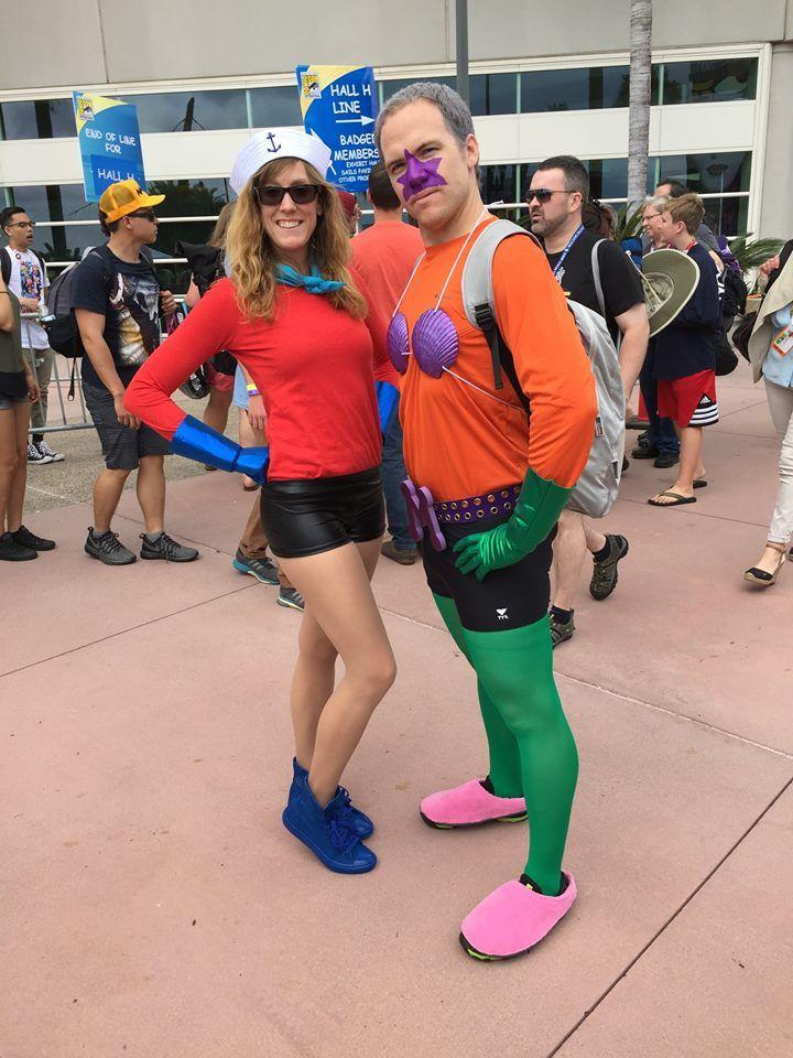 We spotted SpongeBob's favorite superheroes, Mermaid Man and Barnacle Boy, at San Diego Comic Con!