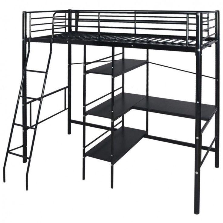Childrens Bunk Bed Frame Desk Storage Metal Black Ladder Shelves Furniture Home #ChildrensBunkBedFrame