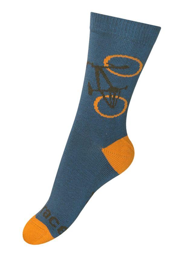 Sok Fiets donker petrol en burned orange Kousen Kousen/sokken