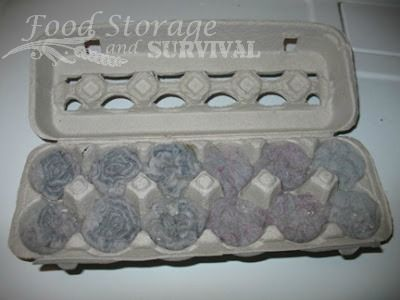 How to make Practically FREE egg carton dryer lint fire starters!  These are the best for camping and emergency fire starting!  from http://foodstorageandsurvival.com