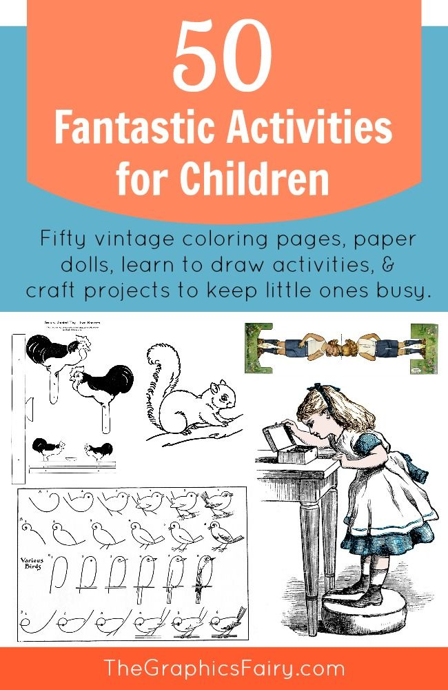 Fifty Fantastic Free Activities for Children Images and printables includes coloring pages and paper dolls with plenty of learn to draw, story telling, connect the dots, and crafting activities with children in mind