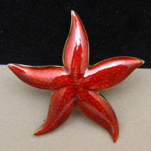 Starfish Pin Vintage Sterling Silver Enamel Brooch Finn Jensen Norway