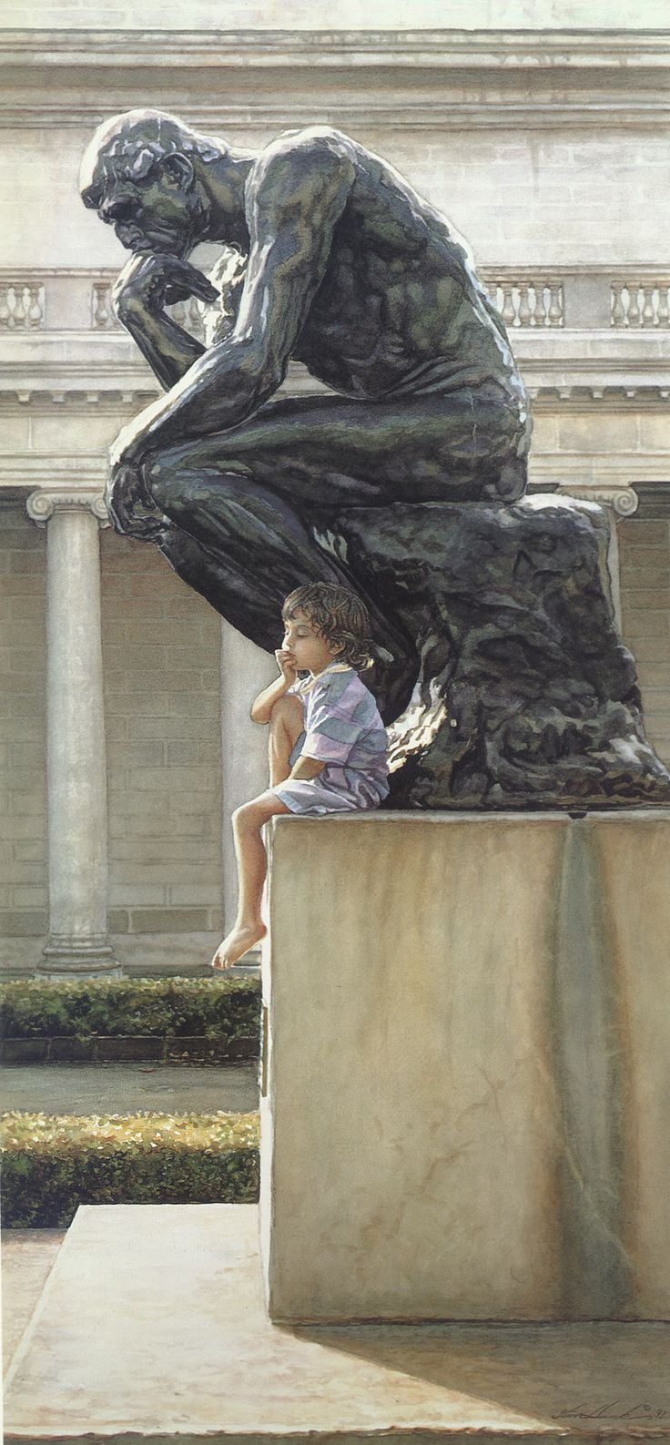 The Thinker. Steve Hanks PAINTING of a wee boy posing while seated on the famous masterpiece by sculptor Rodin = Sculpture entitled 'The Thinker ' ⭐️