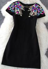 Vestido de una línea de bordado corto otoño, etapa europea era delgada negro de manga lentejuelas LI454(China (Mainland))