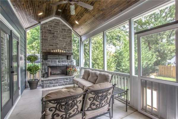 Fireplace on porch!