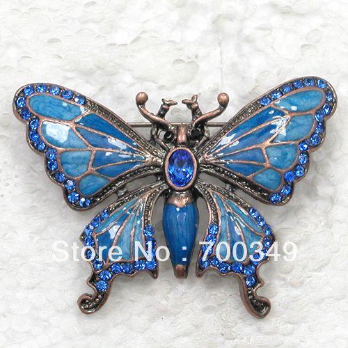 12 piece/lot сапфир кристалл горный хрусталь покрытие античная медь эмаль бабочка булавка брошь C183 B3