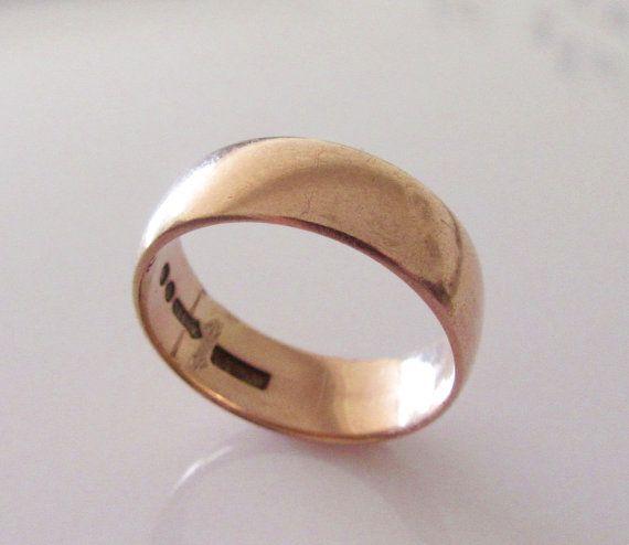 9ct Rose Gold Wedding Ring Band UK Size L by Britishgoldandsilver