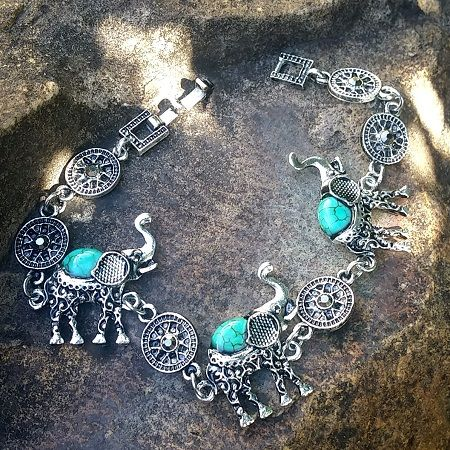 Antiqued Silver Plated Turquoise Elephant Tribal Bracelet