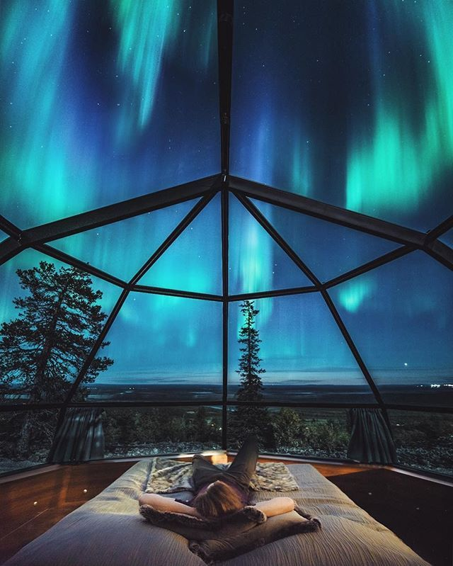 The Northern Lights As Seen From A Glass Igloo Village In