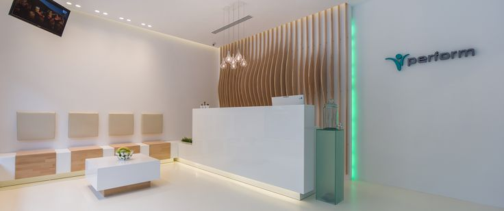 minimalist reception in white glossy MDF, digital fabricated decorative wall panel from massive oak orders/price offers at: office@liniafurniture.ro