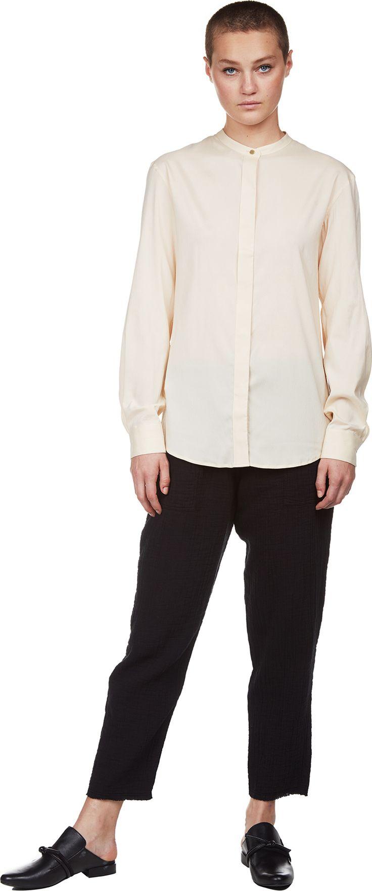Silk Wool Officer Collar Shirt | Lemaire | LOIT