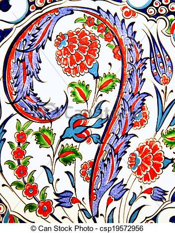 Turkish flower-patterned tiles - csp19572956