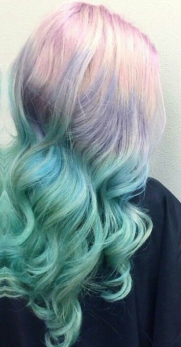 Blue pastel ombre dyed hair color @rossmichaelssalon
