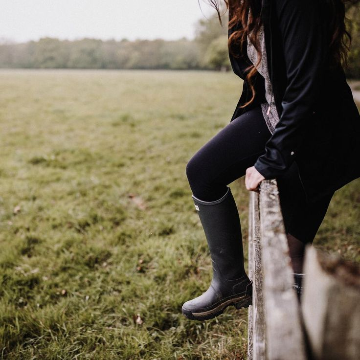 Into the woods. Rainy days in the country call for the iconic Hunter rain boot, a technical design handcrafted from natural rubber.