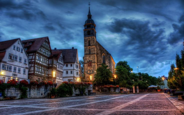 Square In Front Of Church In Boeblingen Germany Hdr Wallpaper