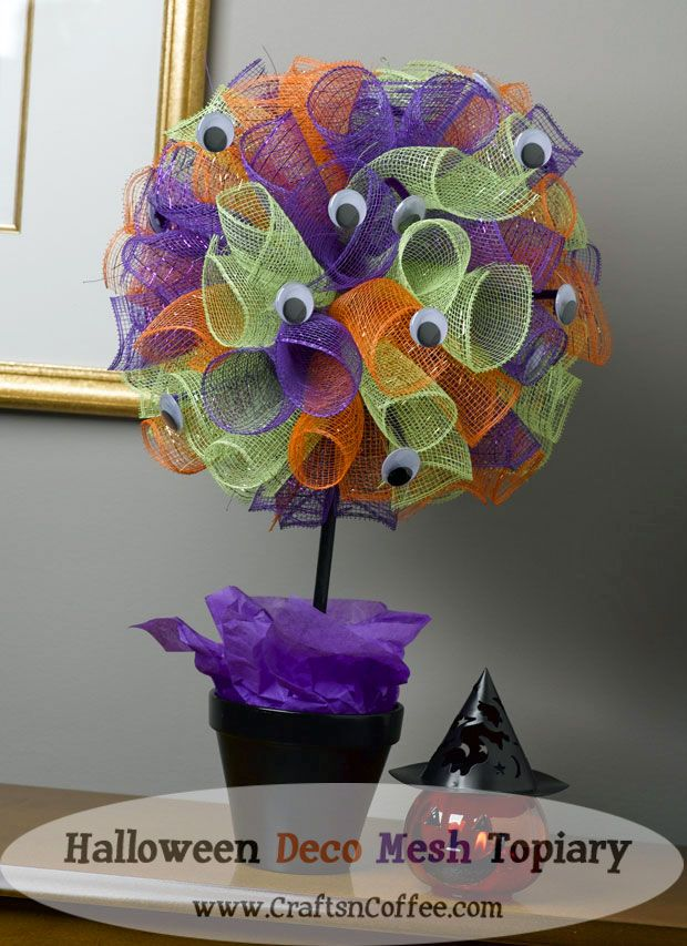 How do you do Deco Mesh? How about a quick, DIY Deco Mesh Halloween Topiary? (and a giveaway!)