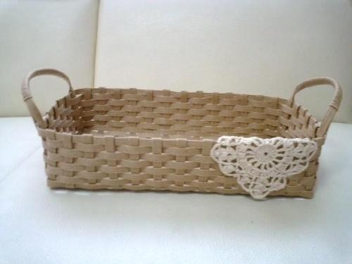 エコクラフトの シンプルパンかごの作り方|エコクラフト|紙小物・ラッピング | アトリエ kamiband tutorial