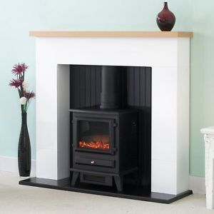 OAK-MANTLE-WHITE-AND-BLACK-FIREPLACE-ELECTRIC-STOVE-FIRE-SURROUND-FREESTANDING