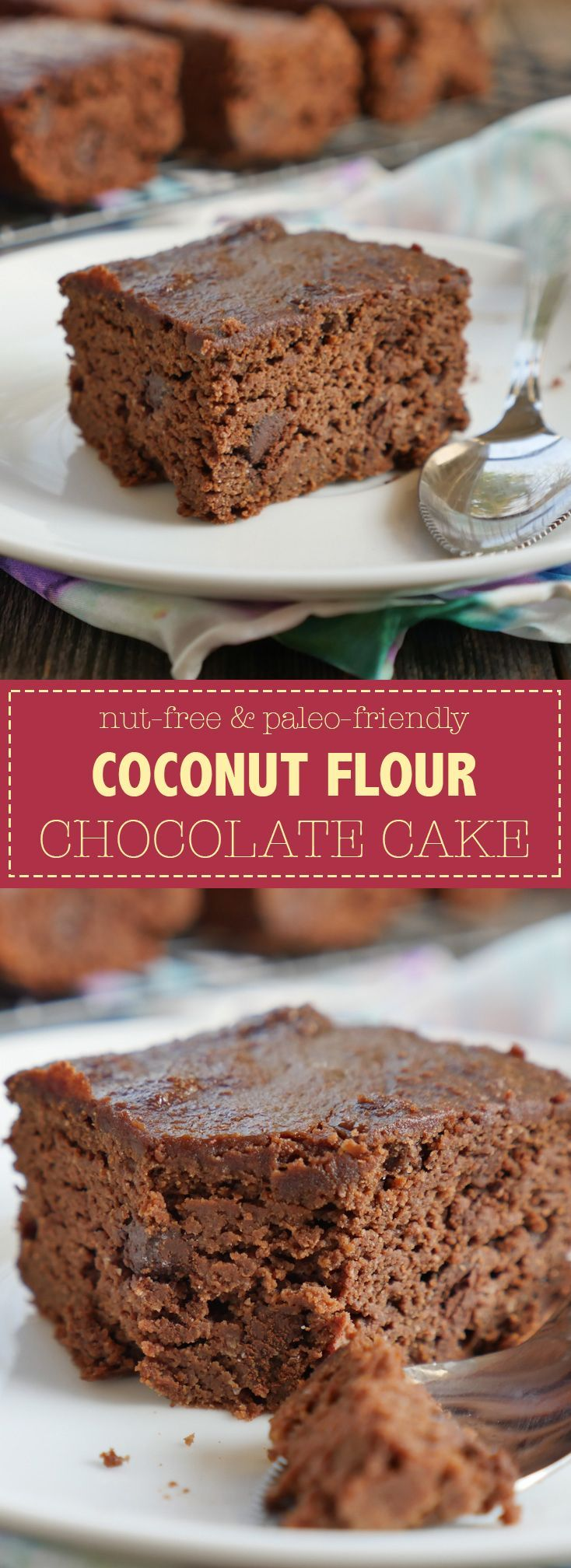 This is a nut-free chocolate cake recipe made with coconut flour. Recipe by Ashley of MyHeartBeets.com