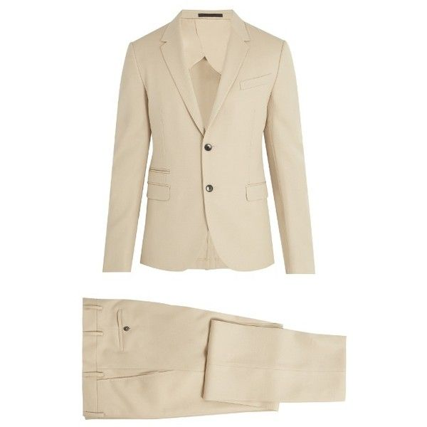 Valentino Notch-lapel wool suit (185.120 RUB) ❤ liked on Polyvore featuring men's fashion, men's clothing, men's suits, beige, mens slim suits, mens wool suits, valentino mens suits, mens beige suit and mens slim fit suits