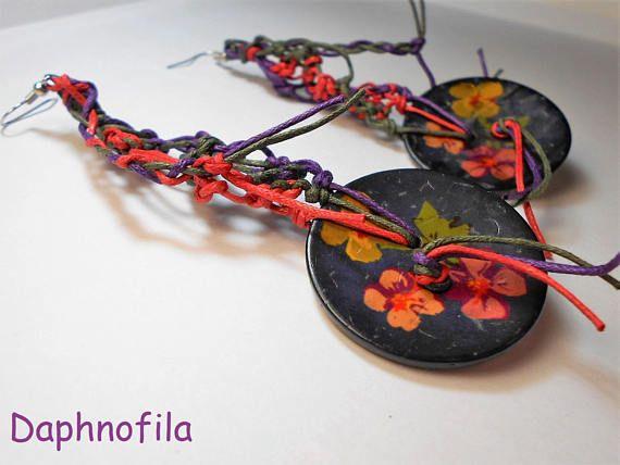 Two beautiful buttons in earrings Handmade earrings Handmade