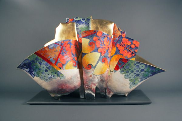 Bennett Bean, Master #?,  Pit-fired, painted, and gilded earthenware.