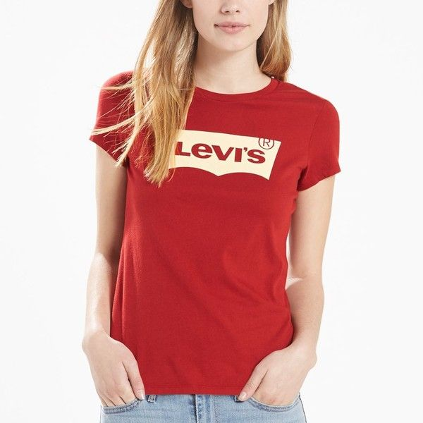 Women's Levi's Batwing Logo Tee (€15) ❤ liked on Polyvore featuring tops, t-shirts, red, crewneck tee, red crew neck t shirt, short sleeve crew neck t shirt, levi t shirts and batwing t shirt
