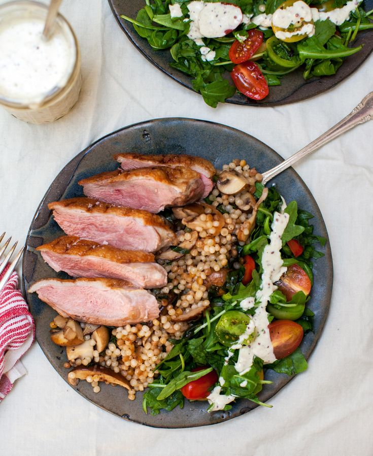 Tonight I made Duck Breast with Ptitim and Mushrooms and a salad with an amazing homemade Creamy Mustard-Shallot Dressing [OC] [3591  4385]