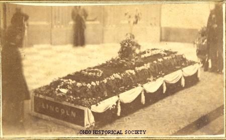 Carte de visite of Abraham Lincoln's casket laying in state in the rotunda of the Ohio Statehouse in Columbus, Ohio on April 29, 1865.