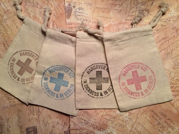 DIY Hangover Kit Bags. Perfect for Bachelor Parties, Bachelorette Parties, Wedding Favors, Girls Night Out  This listing is for hand stamped