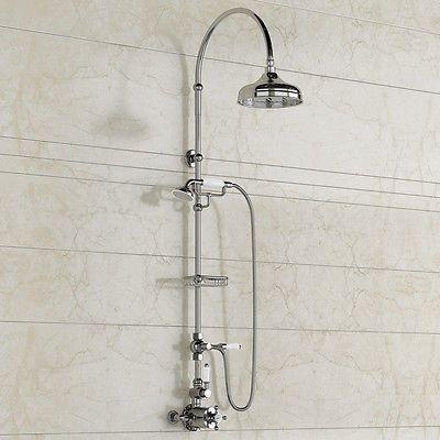 "8"" Thermostatic Traditional Bath Mixer Valve Hand Held Shower Head Bathroom Set"