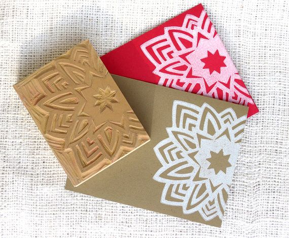 Snowflake Block Print Card Set of 10 Hand Printed by HennelPaperCo, $12.50