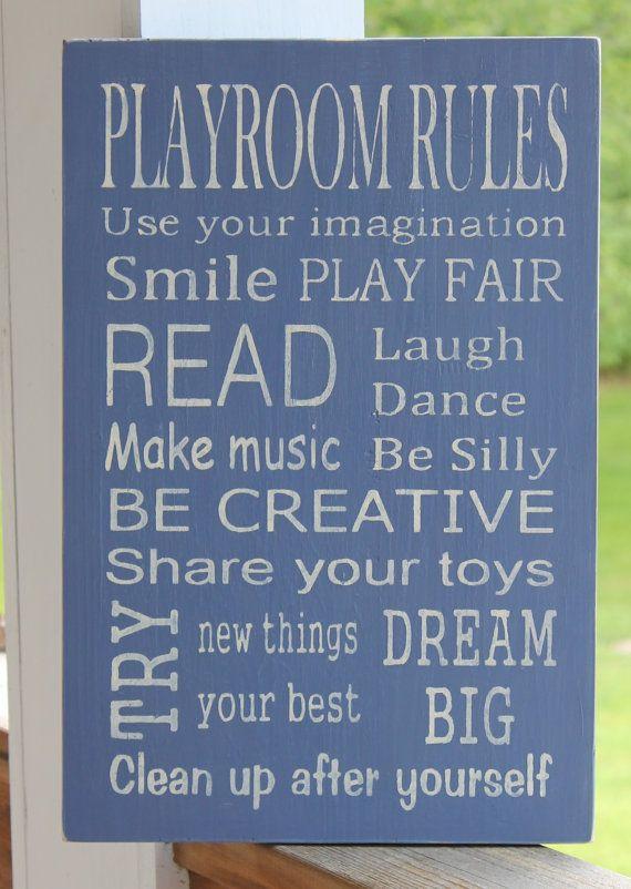 Playroom Rules Wood Sign, Playroom Sign, Family Rules Sign, Subway Sign on Etsy, $52.99